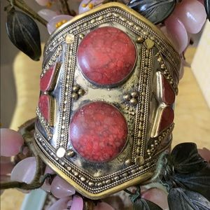 Vintage red turquoise cuff